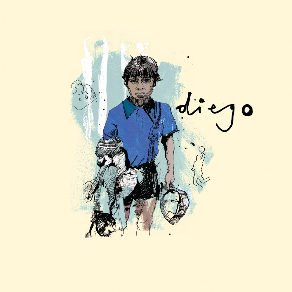 Diego Maradona, argentina artwork, ink, portrait illustration, football illustration, line drawing, pen and ink