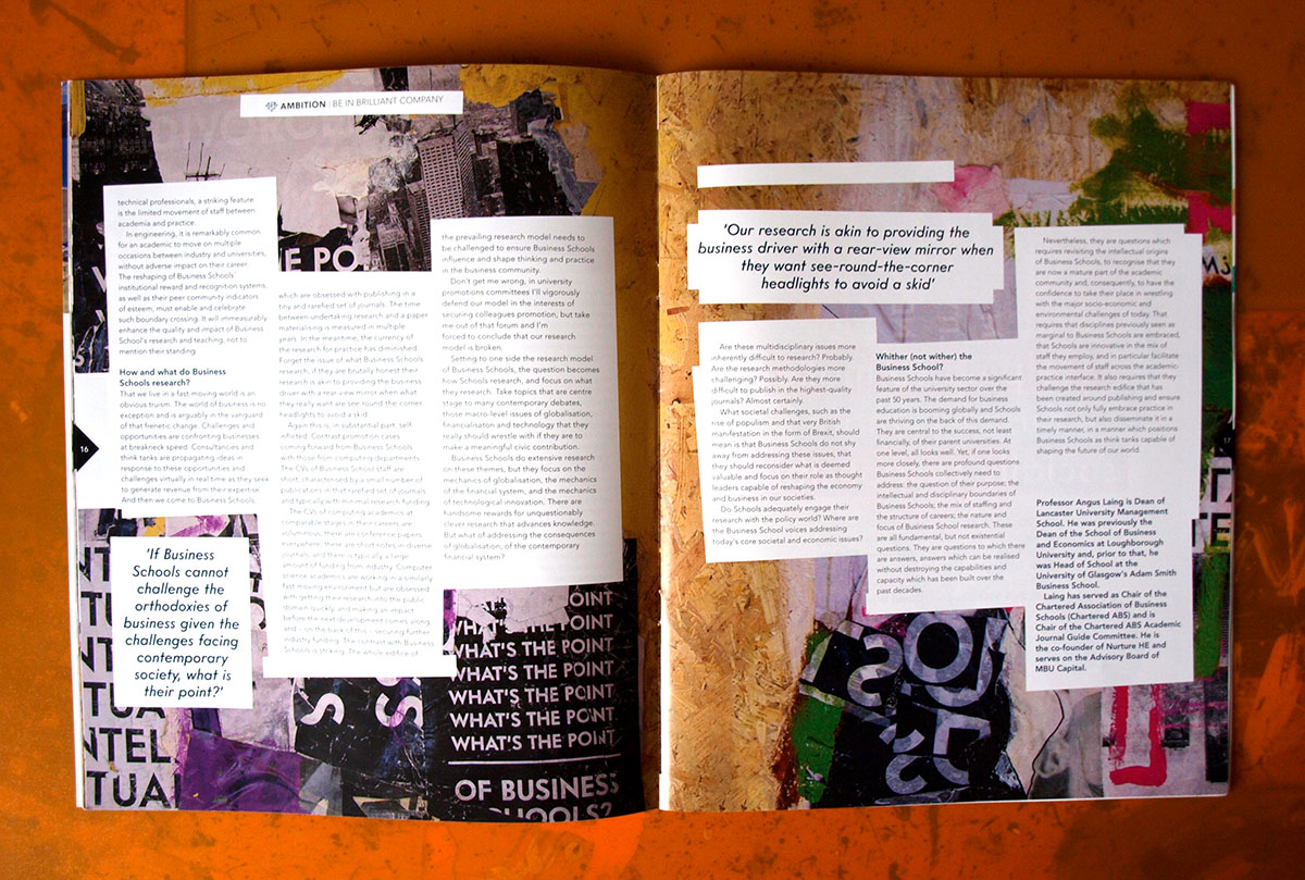 mixed media, collage artwork and original illustrations for AMBA's Ambition Magazine, disruption issue. Line drawing, hand font typography, paint brush strokes and doodles
