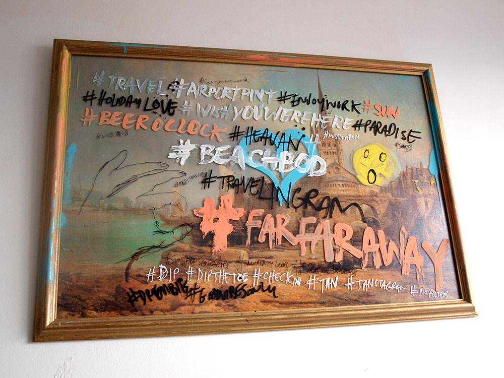 Hand painted original artwork about social media danger in the digital age, paint, spray paint and ink by illustrator Ben Tallon