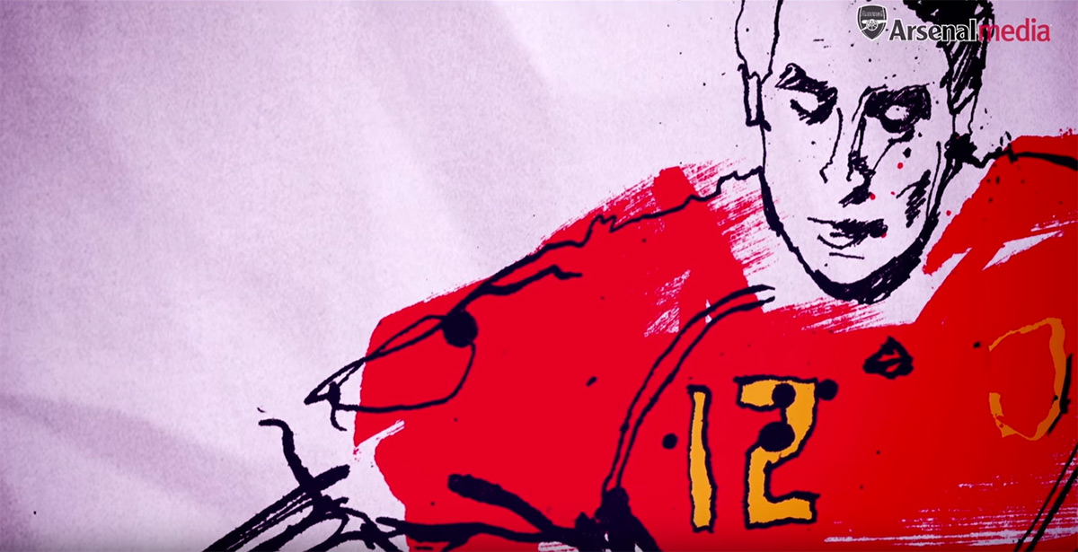 Arsenal, football, art, animation, illustration for Arsenal TV. Portrait, hand drawn, graphics, graphic design, motion graphics, ink, hand drawn, lettering, brush lettering, football art, Ben Tallon,