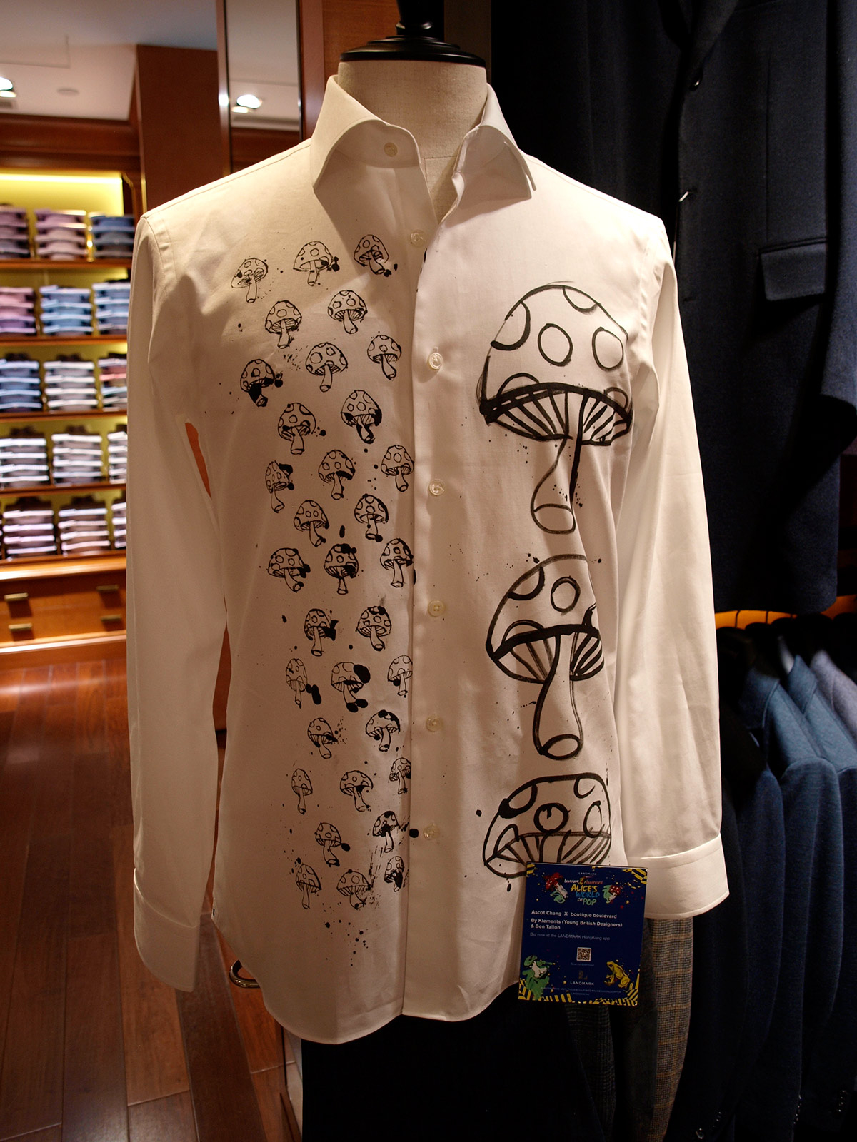 Custom shirt illustration, fashion design with Ascot Chang, Hong Kong, by Ben Tallon, loose drawing, ink, line art, pen and ink