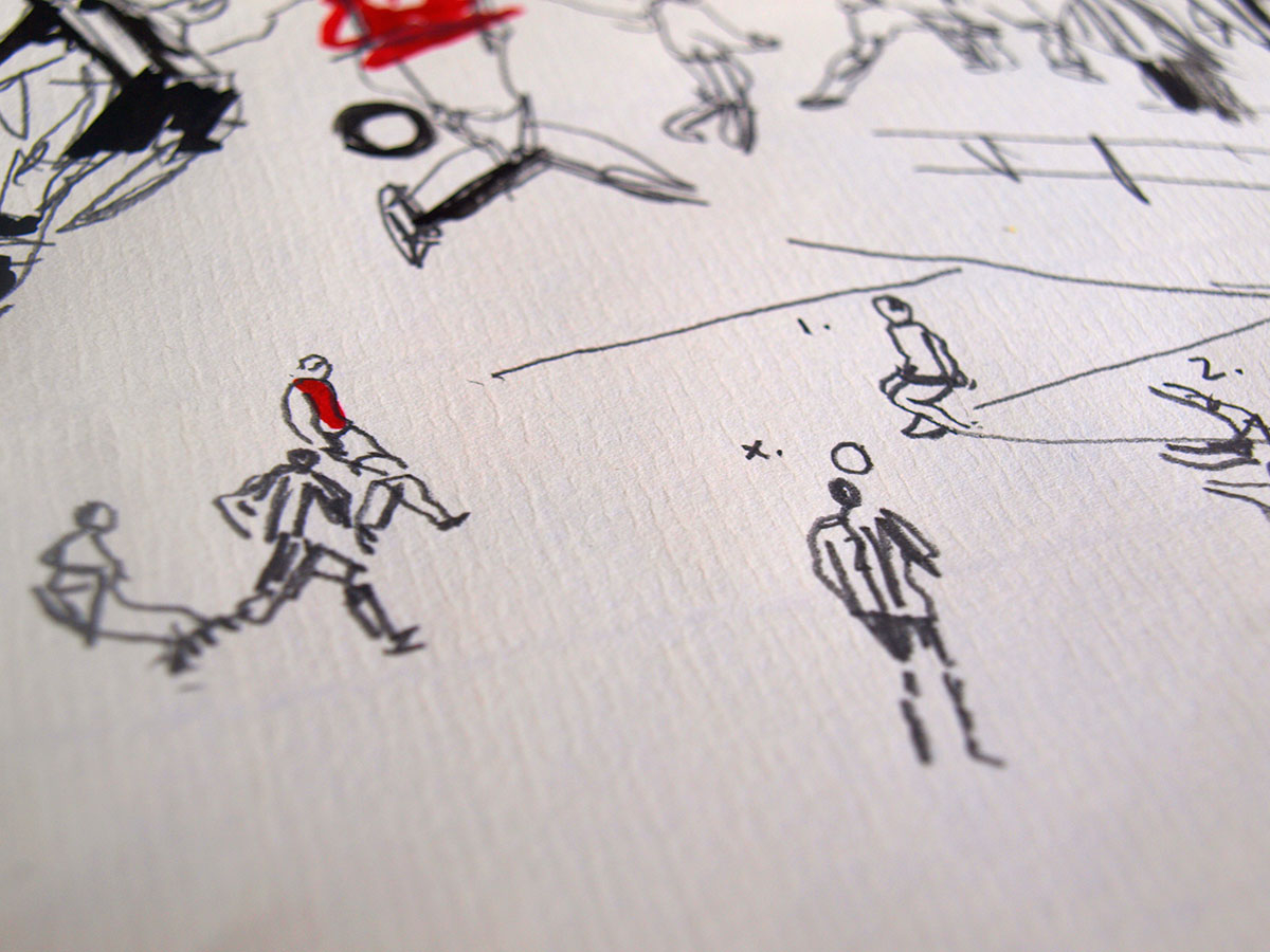 Arsenal Bergkamp premier league goal against Newcastle hand drawn illustration ink, pen and pencil on paper by UK illustrator Ben Tallon