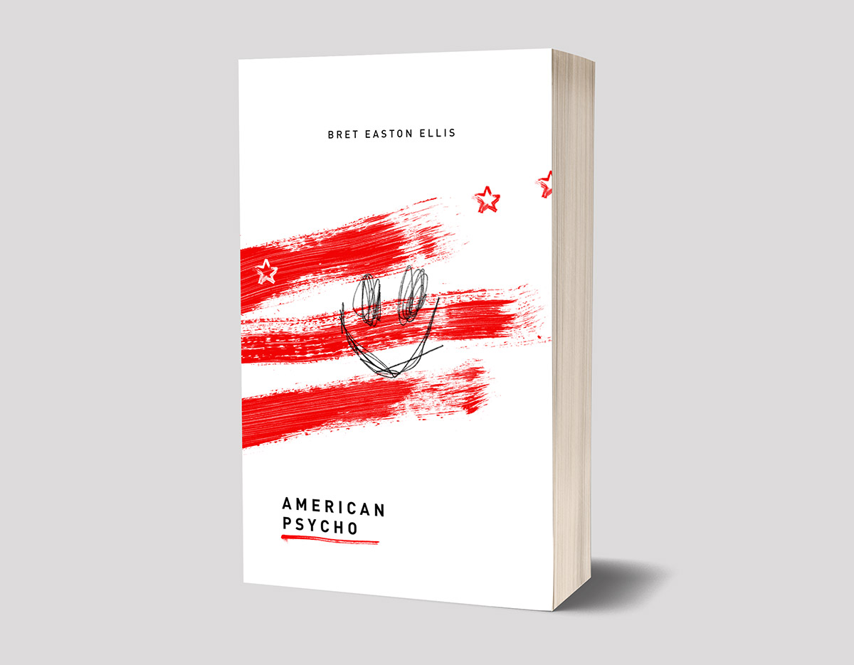American Psycho book cover, book jacket illustration and design by Ben Tallon illustrator, hand lettering, art direction, manchester artist