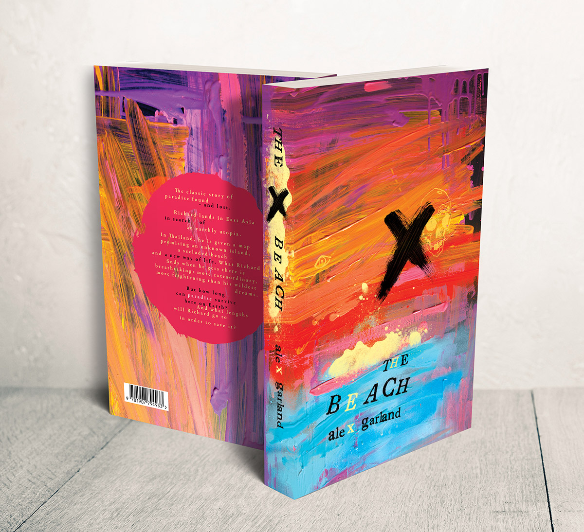 Alex Garland The Beach book cover, book jacket illustration and design by Ben Tallon illustrator, hand lettering, art direction, manchester artist