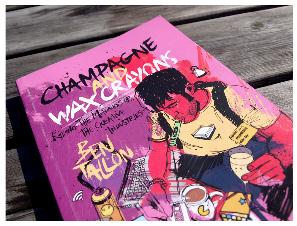 Hand drawn and painted artwork, design and illustration for paperback book jacket, champagne and Wax Crayons
