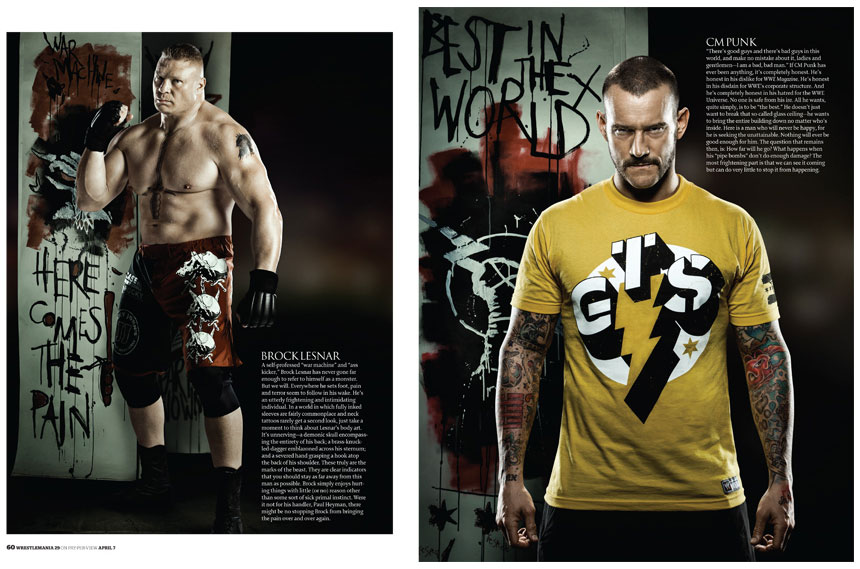 set design, illustration, original hand painted banner, ink, brush, brock lesnar, cm punk, line drawing, lettering, brush type