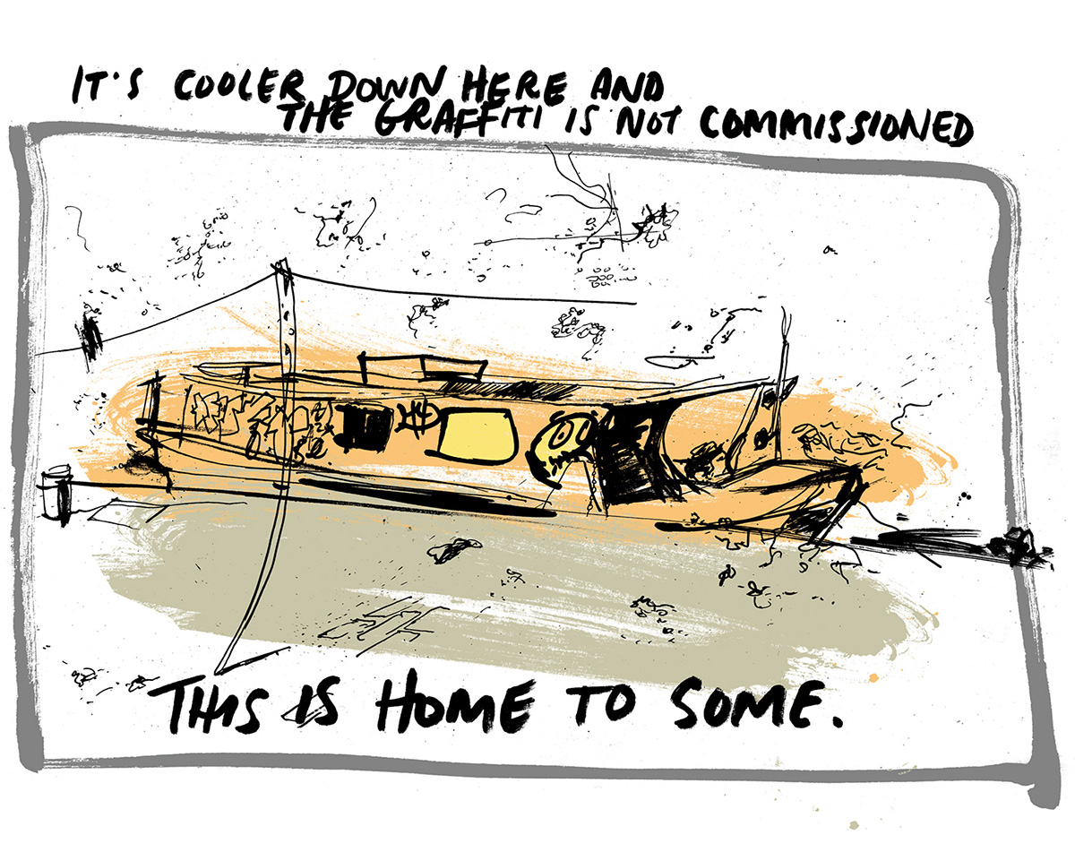 Guardian cities drawing illustration Manchester homeless ben tallon graphic novel illustrator