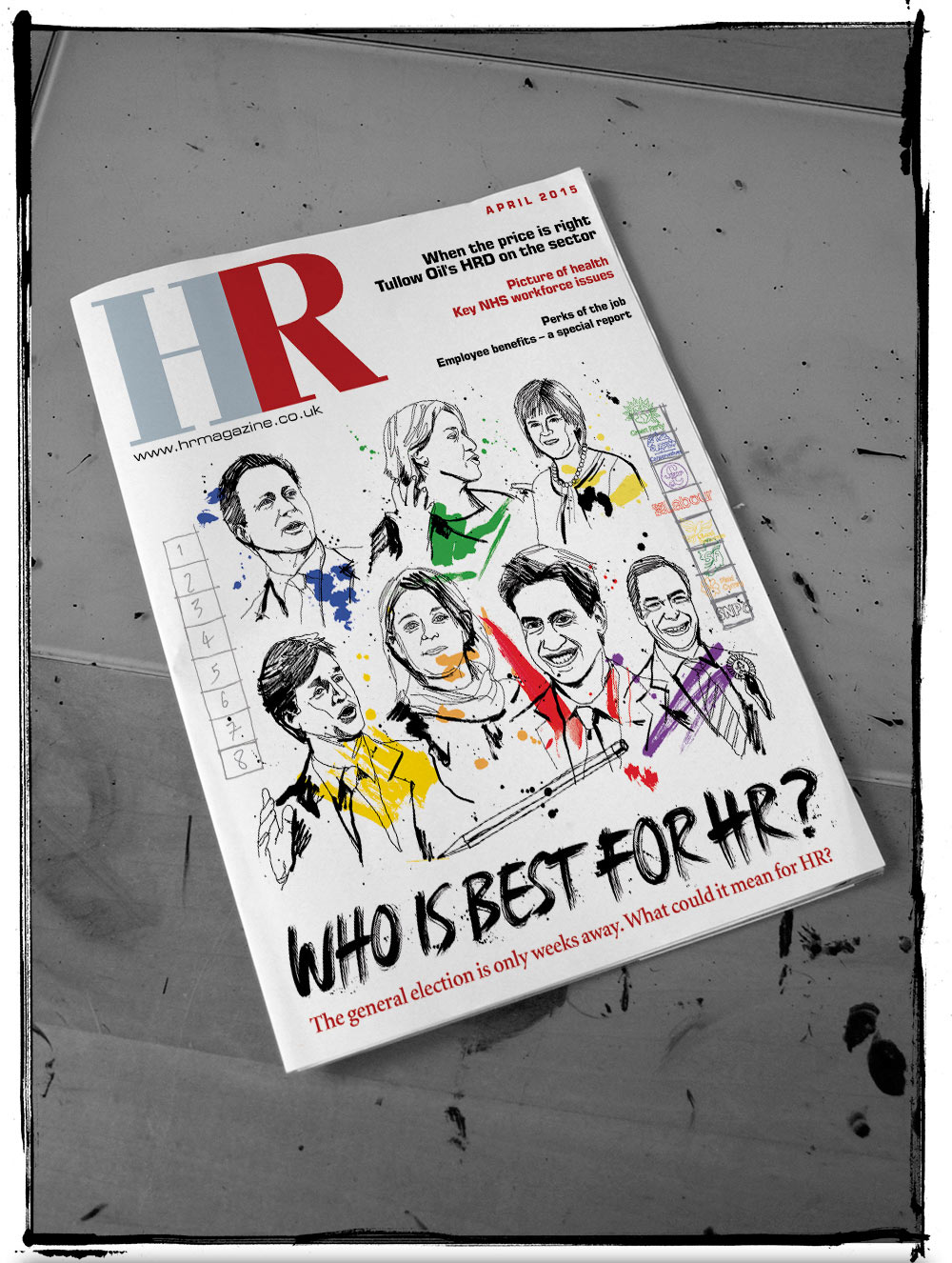 HR Magazine, general election, portrait illustration, conservatives, labour, green part, liberal democrats, SNP, artwork, line drawing illustrated, pen andink, brush type, painted lettering, Ben Tallon