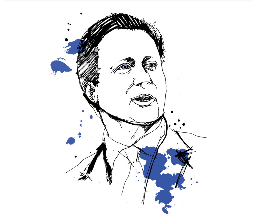 HR Magazine, David Cameron, general election, portrait illustration, conservatives, labour, green part, liberal democrats, SNP, artwork, line drawing illustrated, pen andink, brush type, painted lettering, Ben Tallon