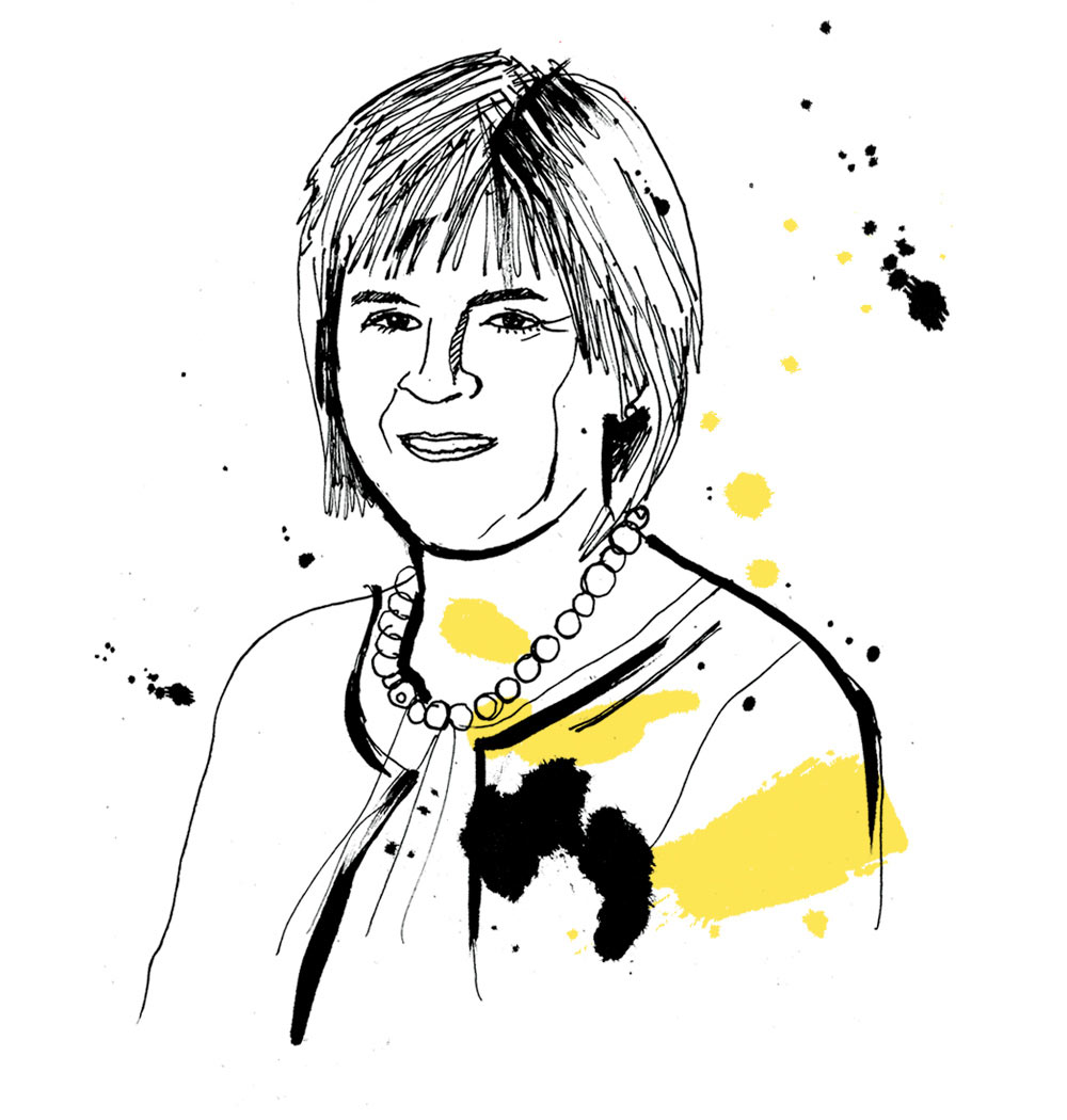 HR Magazine, general election, portrait illustration, conservatives, labour, green part, liberal democrats, SNP, artwork, line drawing illustrated, pen andink, brush type, painted lettering, Nicola Sturgeon, Scotland, Ben Tallon