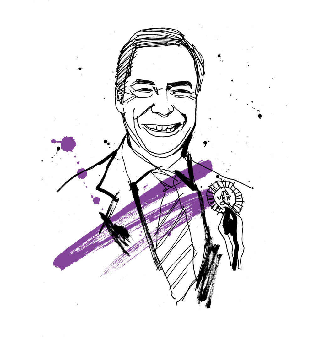 HR Magazine, general election, portrait illustration, conservatives, labour, green part, liberal democrats, SNP, artwork, line drawing illustrated, pen andink, brush type, Nigel Farage, painted lettering, Ben Tallon