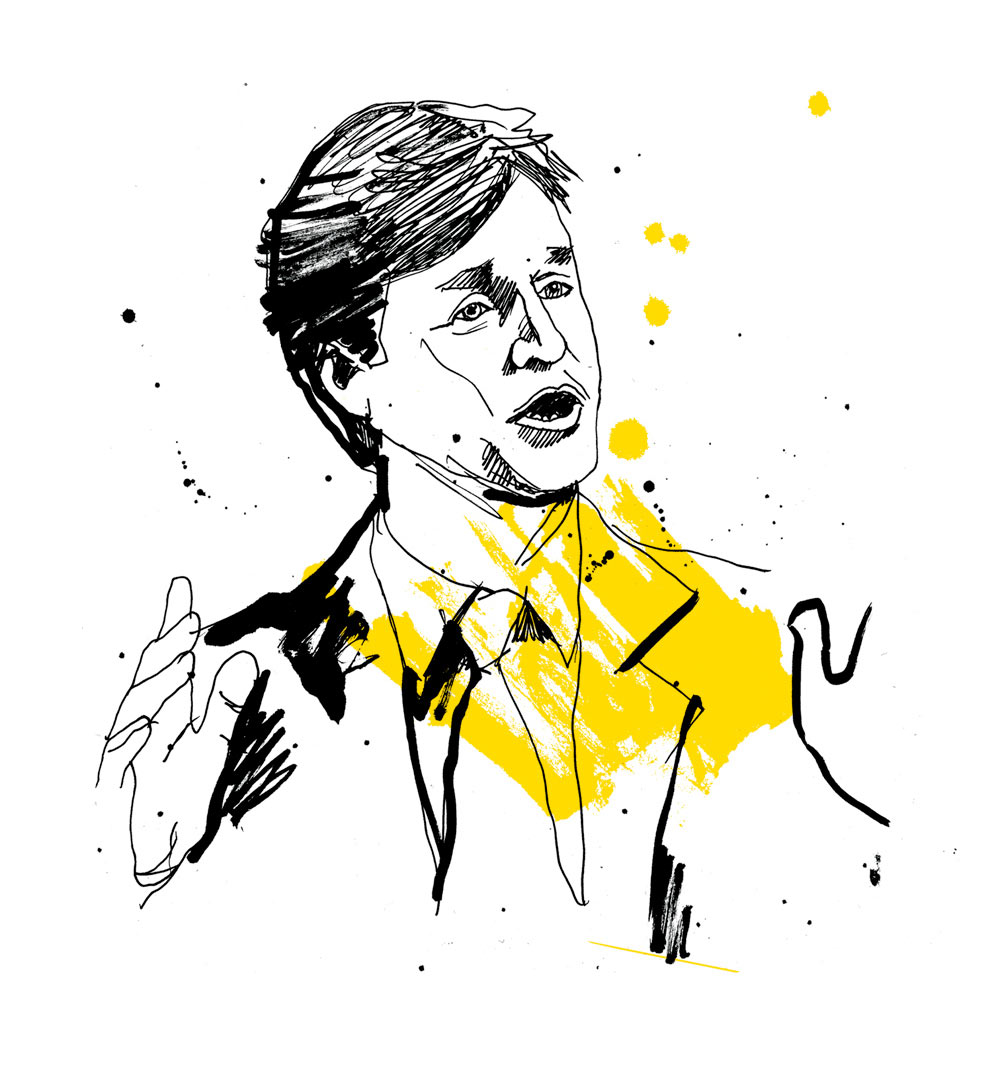 HR Magazine, general election, portrait illustration, conservatives, labour, green part, liberal democrats, SNP, artwork, line drawing illustrated, pen andink, brush type, Nick Clegg, painted lettering, Ben Tallon