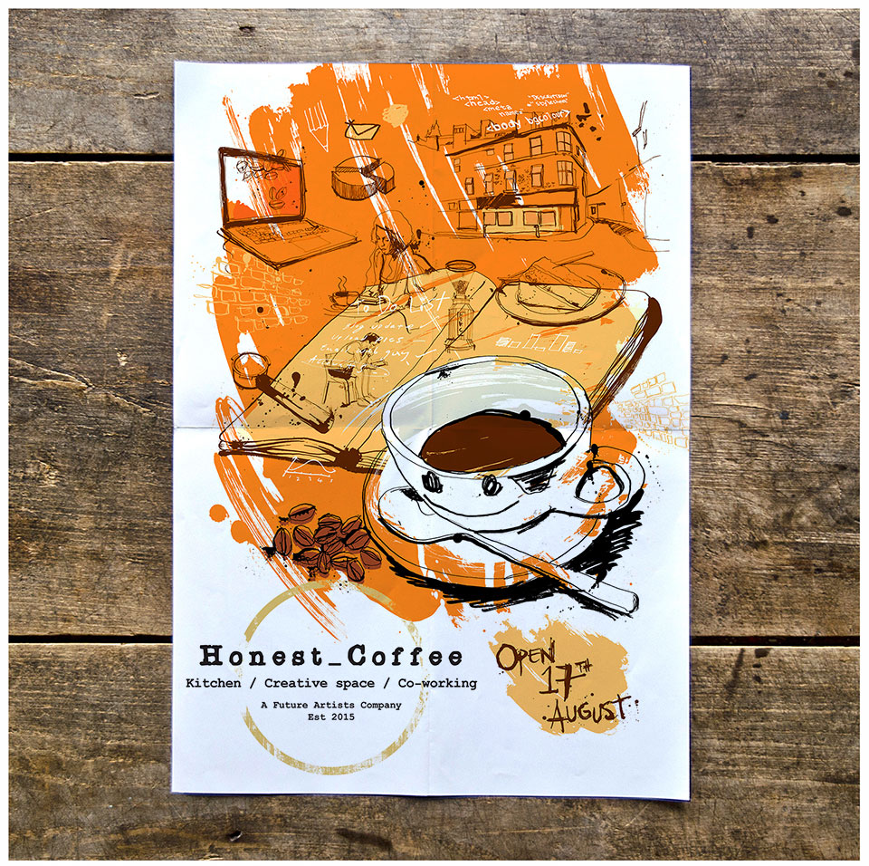 coffee branding, illustration, artwork, hand drawn ink for future artists honest coffe, cafe, coffee shop, tea brand illustration, Ben Tallon