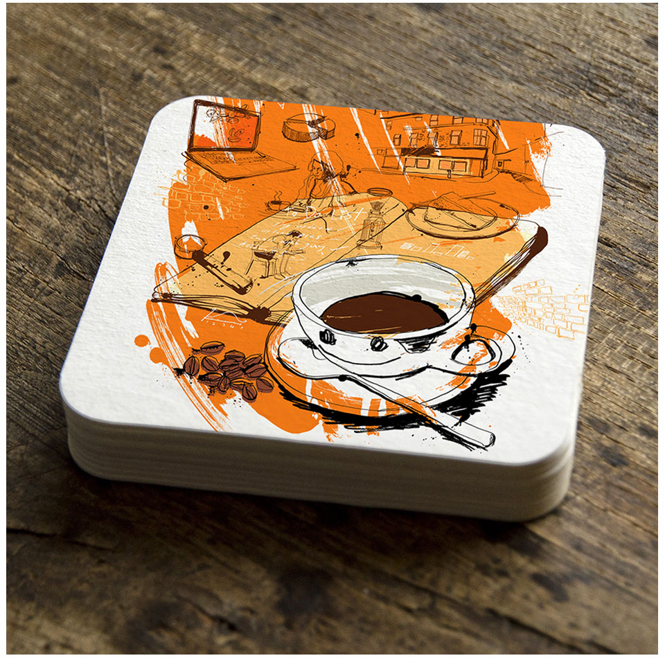 coffee branding, illustration, artwork, hand drawn ink for future artists honest coffe, cafe, coffee shop, painted, doodle, contemporary illustration, tea brand illustration, Ben Tallon
