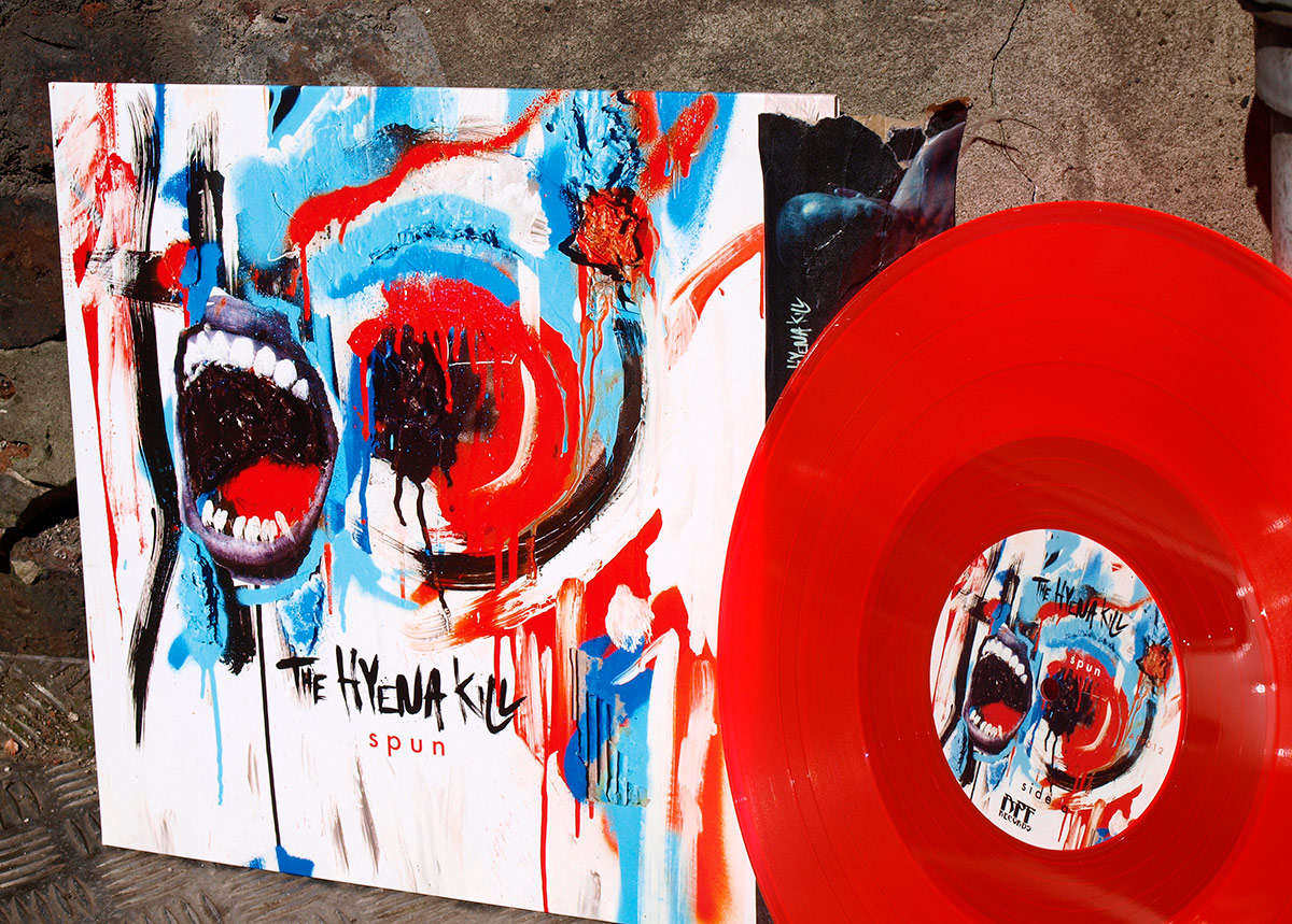 Hyena kill, hand lettering, art direction, illustration, album artwork and design for record, vinyl, hard rock band in Manchester, hand drawing, spray paint and ink