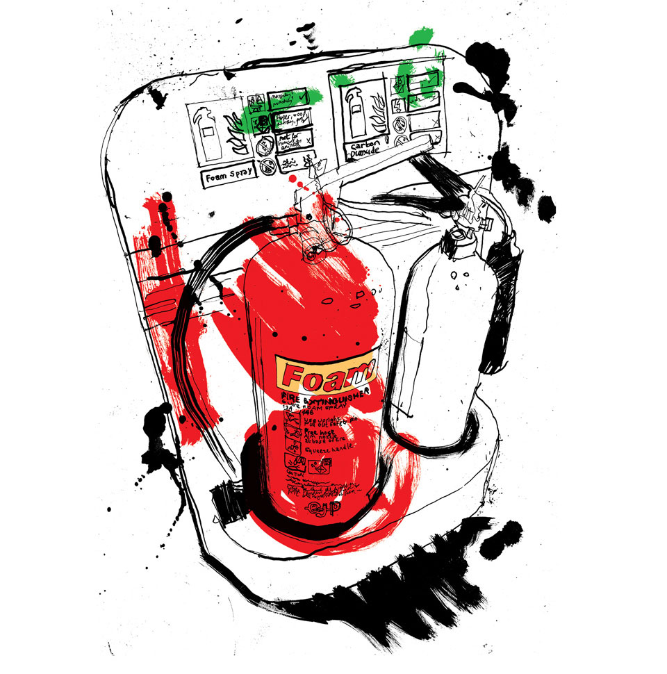 Ink line drawing, hand lettering of fire extinguishers, hand painted, lettering, line drawing illustrator, design, loose illustration,