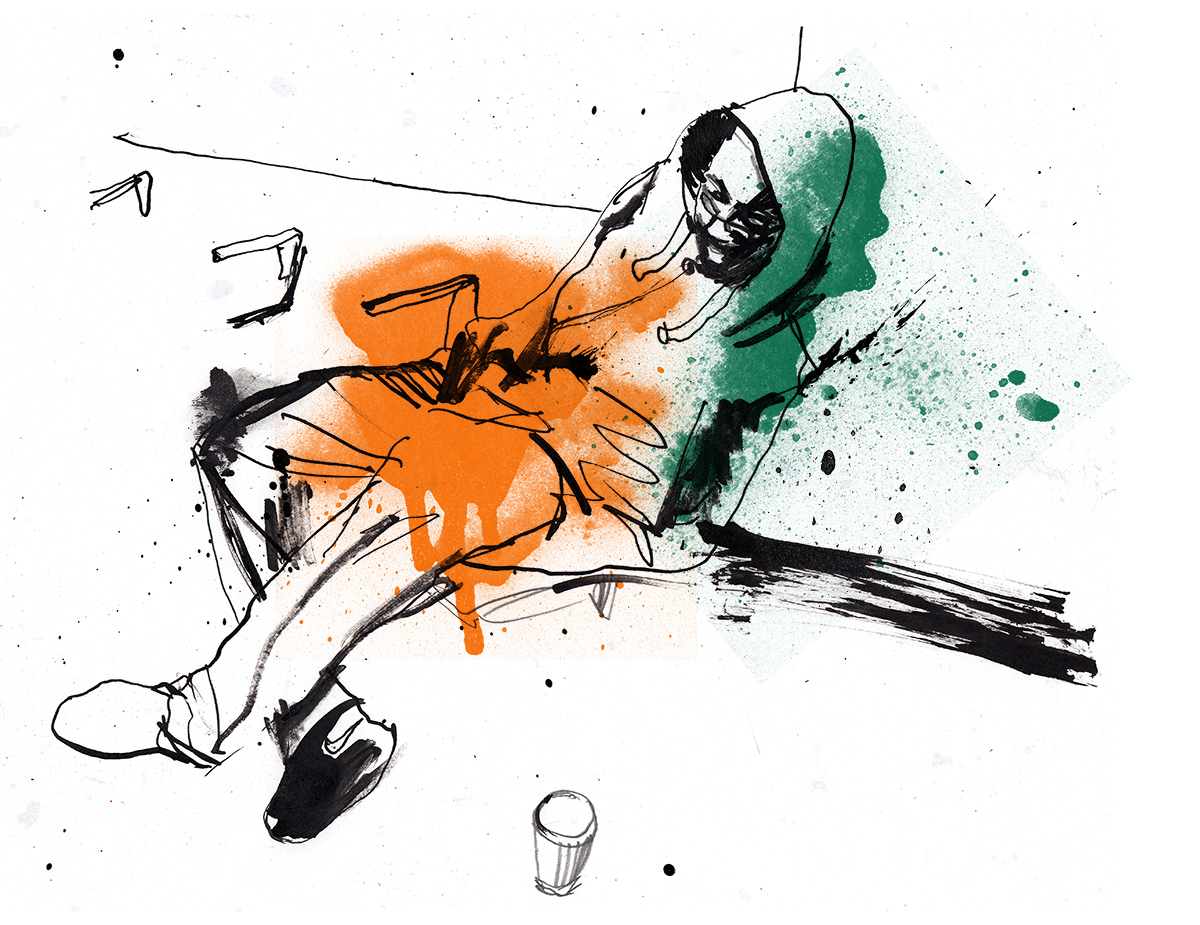 Reportage illustration, London, ink and spray paint on paper by illustrator Ben Tallon