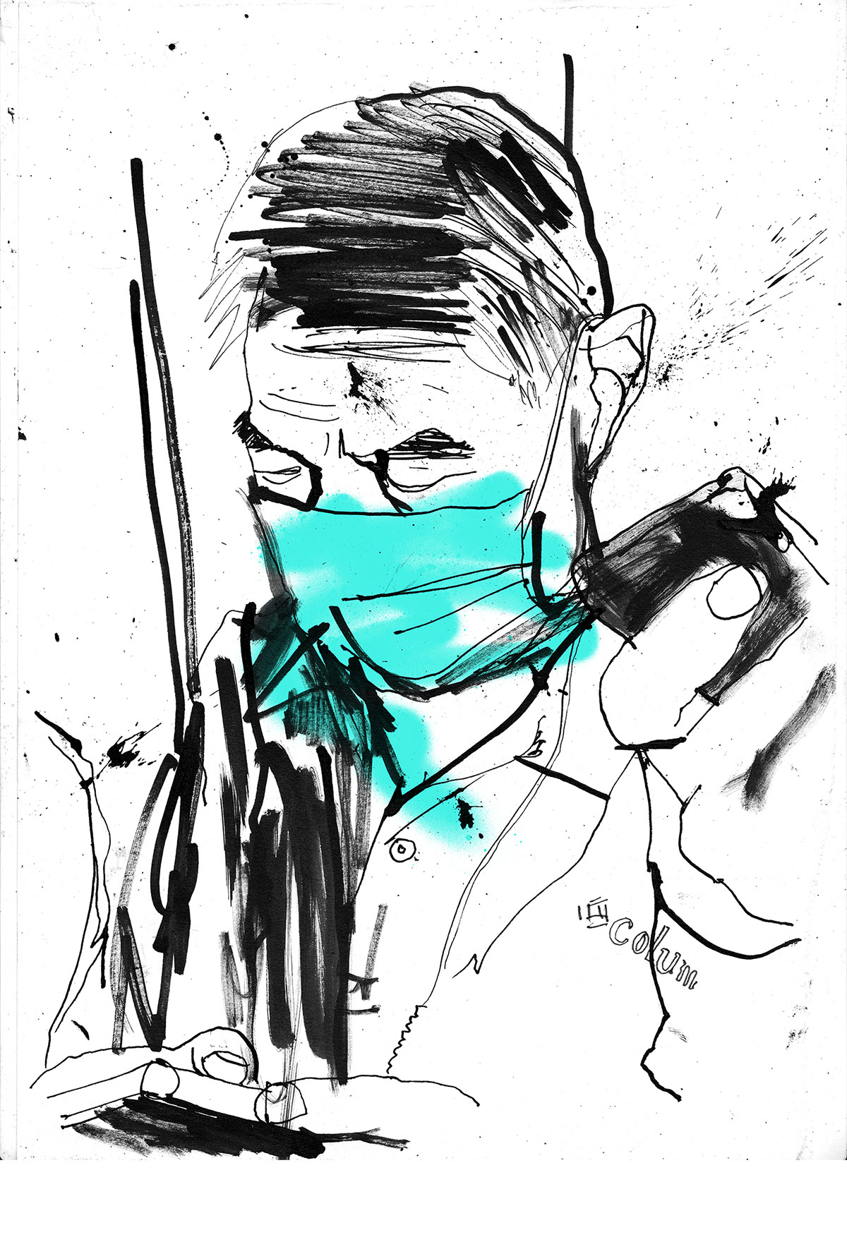 Hong Kong reportage illustration by Ben Tallon, illustrator UK. Urban sketchy style of drawing, ink, paint, spray paint, hand drawn artwork