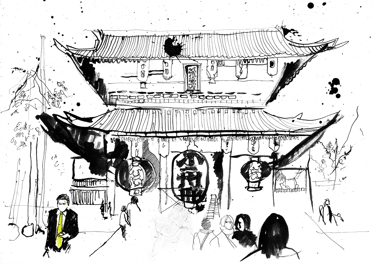 Illustration Japan, Kyoto, Tokyo, Osaka, Line drawing, artwork, Japanese, Illustrator, UK, Illustration, observational drawing, travel illustration, design