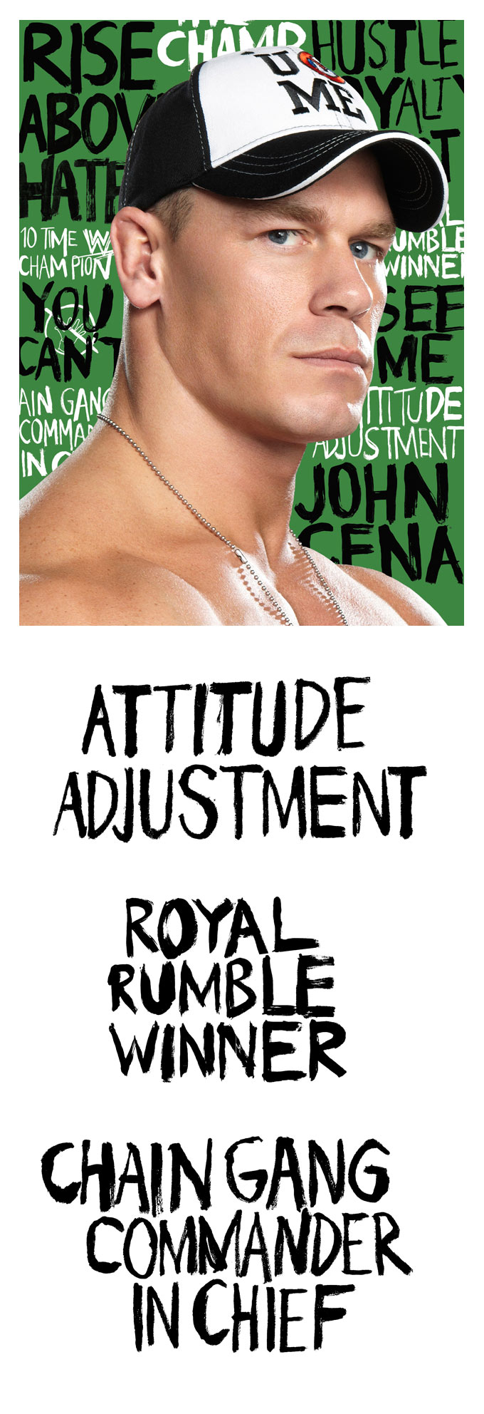 John Cena WWE wrestler - hand lettering in ink and paint on paper