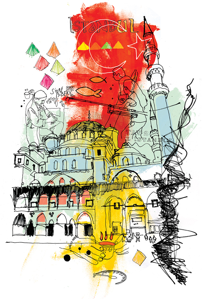 holiday and travel illustration for Moscow, Russia, ink, paint, spray, pen, paper, lettering drawn by hand