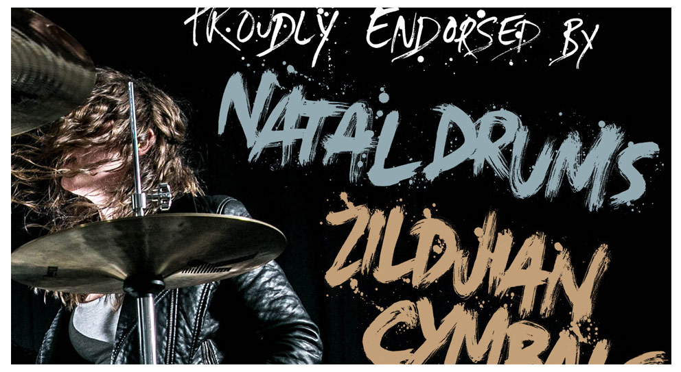 Natal Drums design, painted type, hand lettering, brush type, graphic design, art direction, lorna blundell, hyena kill, ink, drawing, artwork, manchester, hard rock