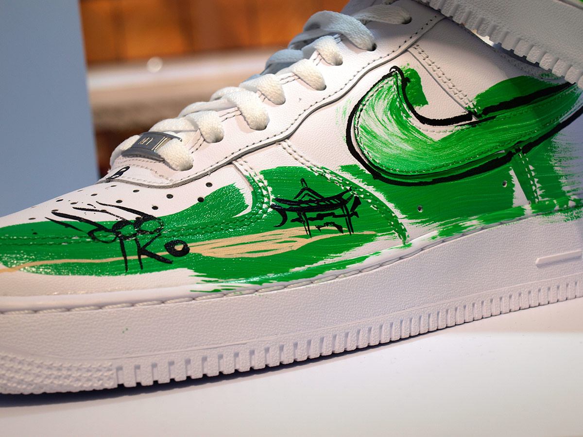 Nike Bei Hei, custom sneaker design, artwork, illustration, ink drawing illustrator, loose drawing on shoes in Beijing, China