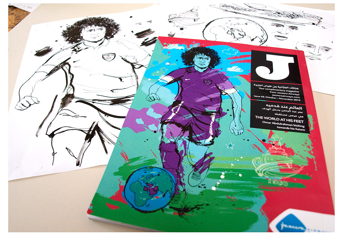 omar abdulrahman illustration, ben tallon, artwork, ink, line drawing, portrait illustration, jazeera magazine, al-ain art, artwork, football drawing