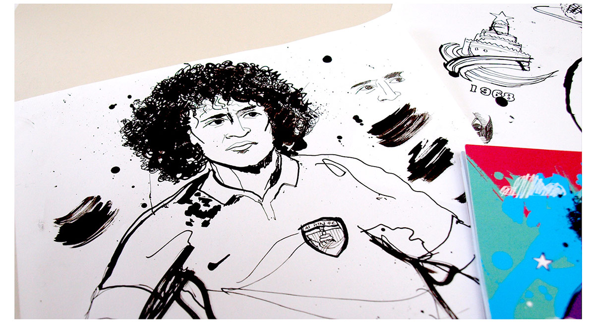 Ink illustration, loose drawing, line art, pen and ink illustration of omar abdulrahman, al-ain, dubai illustration, hand drawn, line drawing, art studio, ben tallon