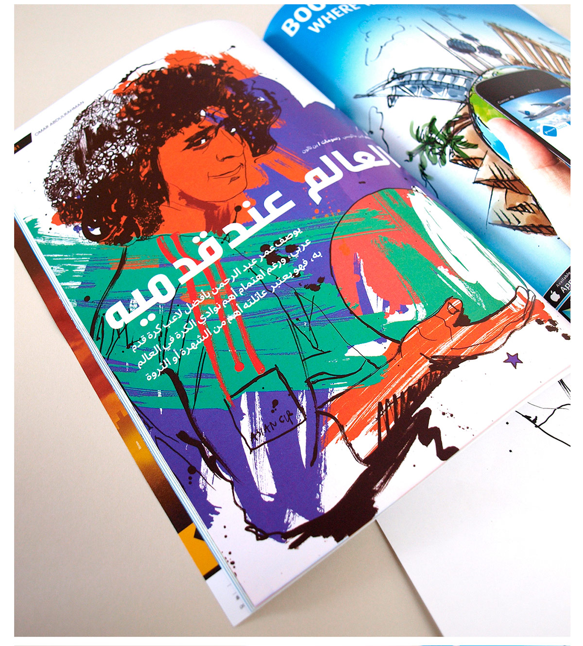 Ink illustration, loose drawing, line art, pen and ink illustration of omar abdulrahman, al-ain, dubai illustration, hand drawn, line drawing, art studio, ben tallon, editorial illustrator