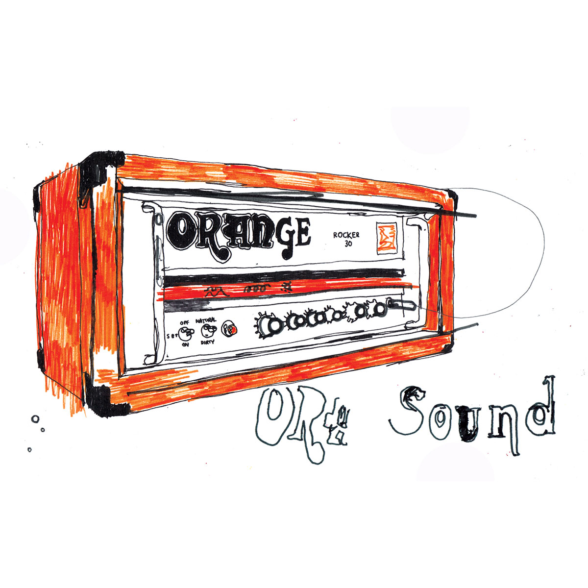 Orange amp, amplifier, hand drawn illustration, lettering, design, artwork Ben Tallon