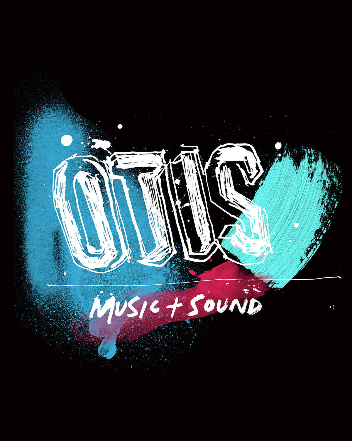 Otis studio music sydney australia, hand drawn, painted illustration in acrylic paint, ink, spray paint and watercolour