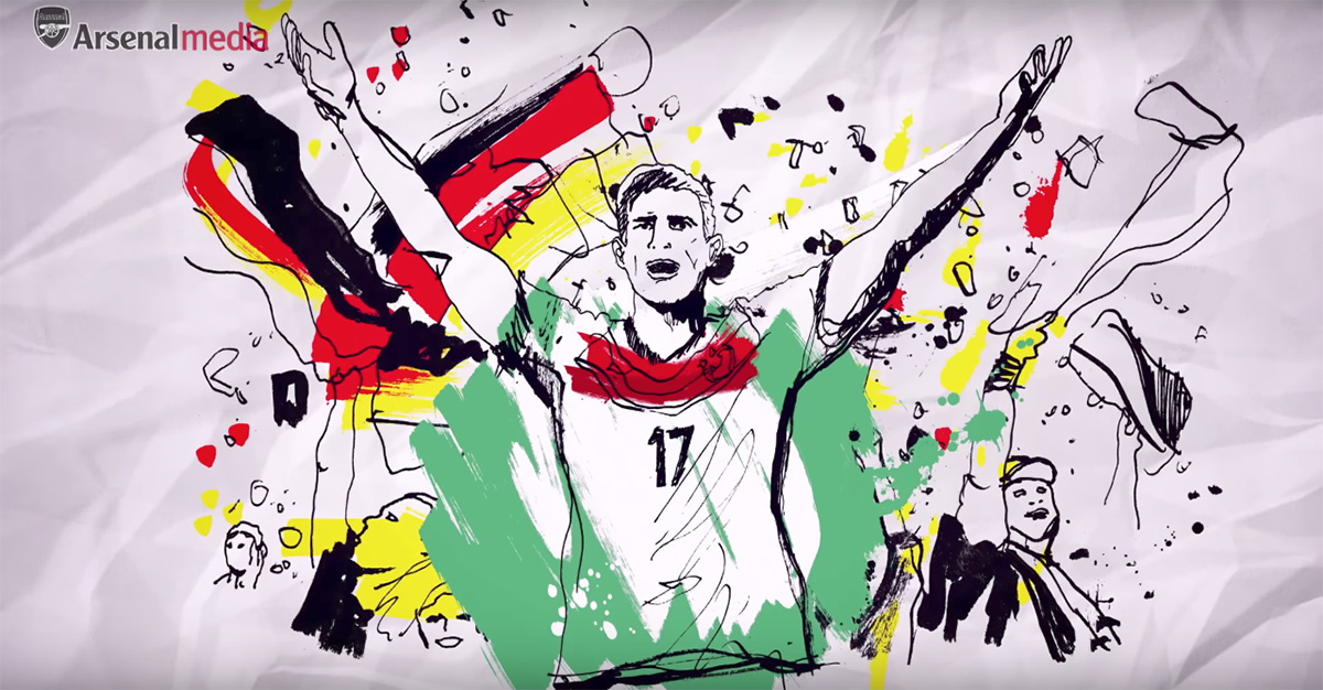 Arsenal Premier League defender Per mertesacker for Germany, world cup illustration, artwork, hand drawn ink and pencil on paper, painterly, UK illustrator Ben Tallon
