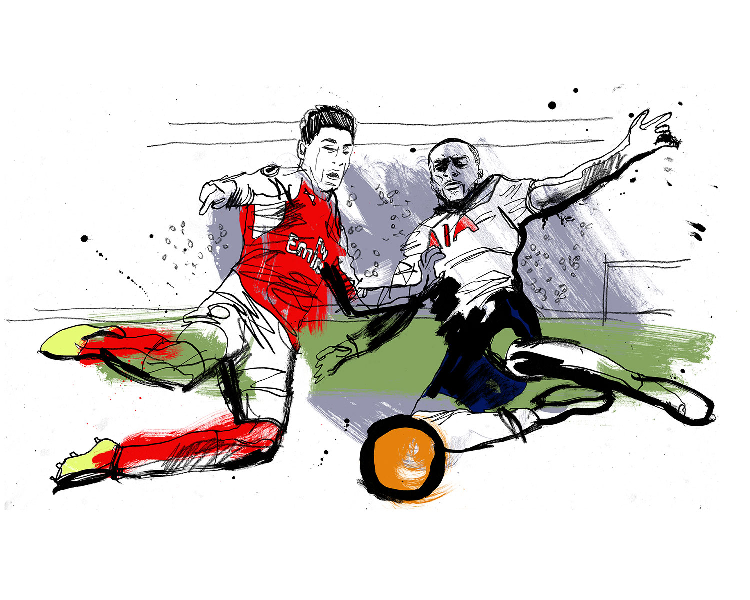 Premier League illustration for animated TV trailer, Arsenal v Spurs, hand drawing on paper, ink, pencil, artist, illustrator Ben Tallon