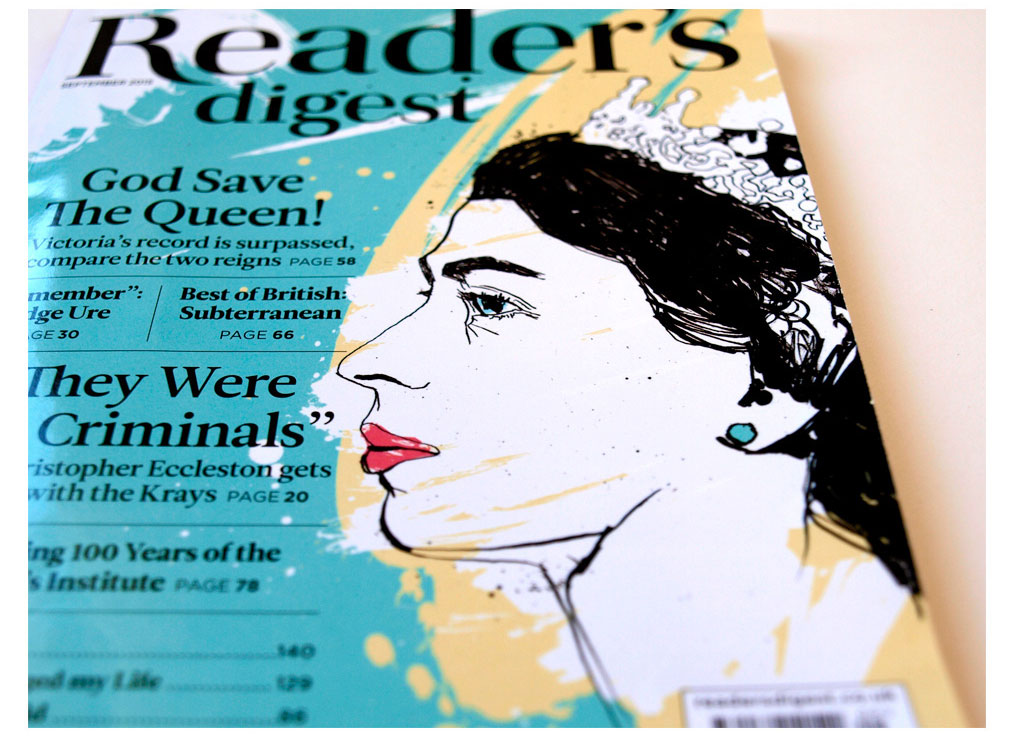 Queen artwork, Elizabeth, victoria, reader's digest cover, feature illustration