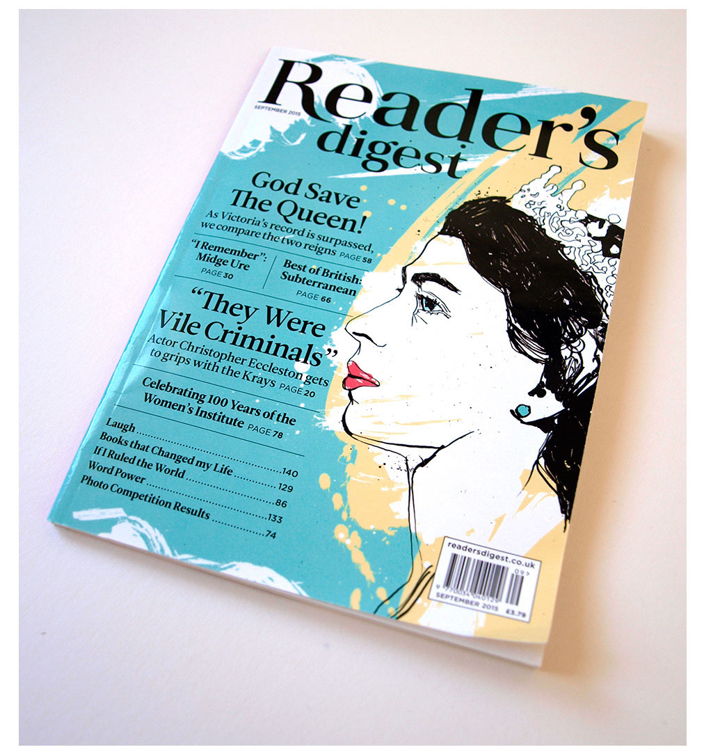 Queen illustration, reader's digest magazine, front cover illustration, ink and paint on paper