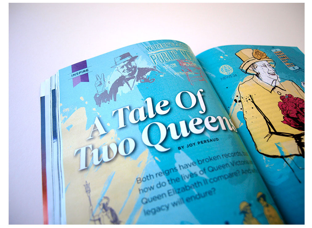 Queen illustration, design, loose illustration, london magazine reader's digest