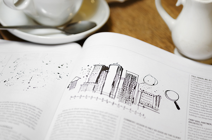 Line drawings in ink on paper, illustration and lettering for RIBA