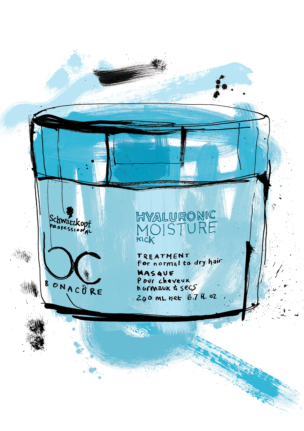 Hand drawn schwarzkopf summer campaign advertising illustration, artwork for advertising, painted loose textures