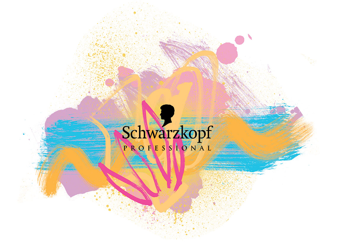Schwarzkopf Ben Tallon illustration artwork for advertising summer campaign, line drawing, paint textures, loose illustrations, UK Illustrator