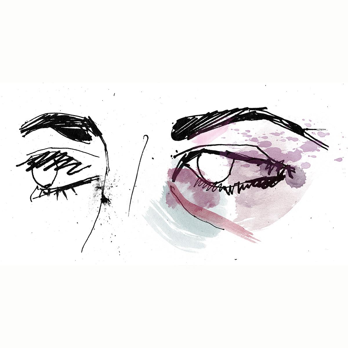 Black eye, fight, women illustration, ink drawing, hand drawn artwork by Ben Tallon illustrator