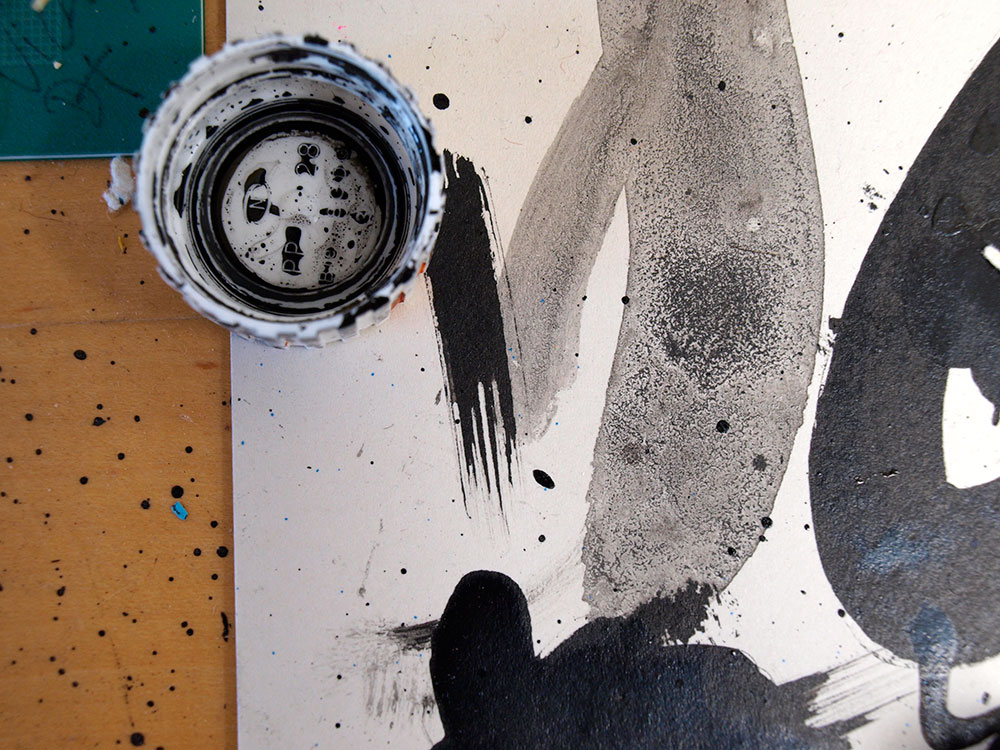 Ink desk, art studio, illustration studio surface photograph, ink mark, paint splat, drawing table, illustrator london, ben tallon