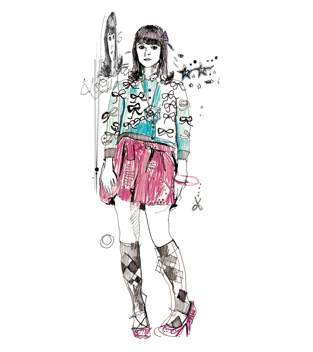 Fashion drawing, fashion design, fashion art for channel 4 skins trailer