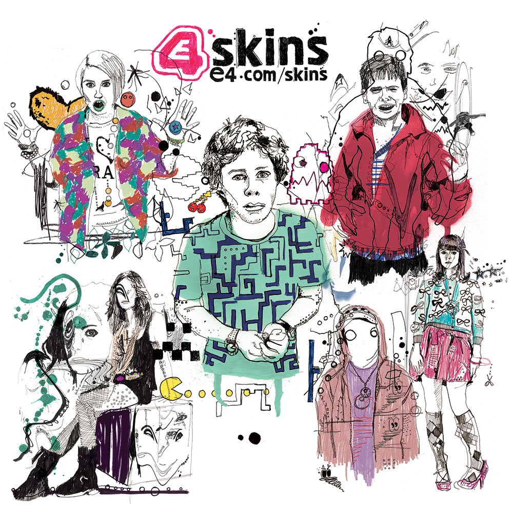 E4, Channel 4 illustration, skins art, skins artwork, cook, effy, ink drawing, design