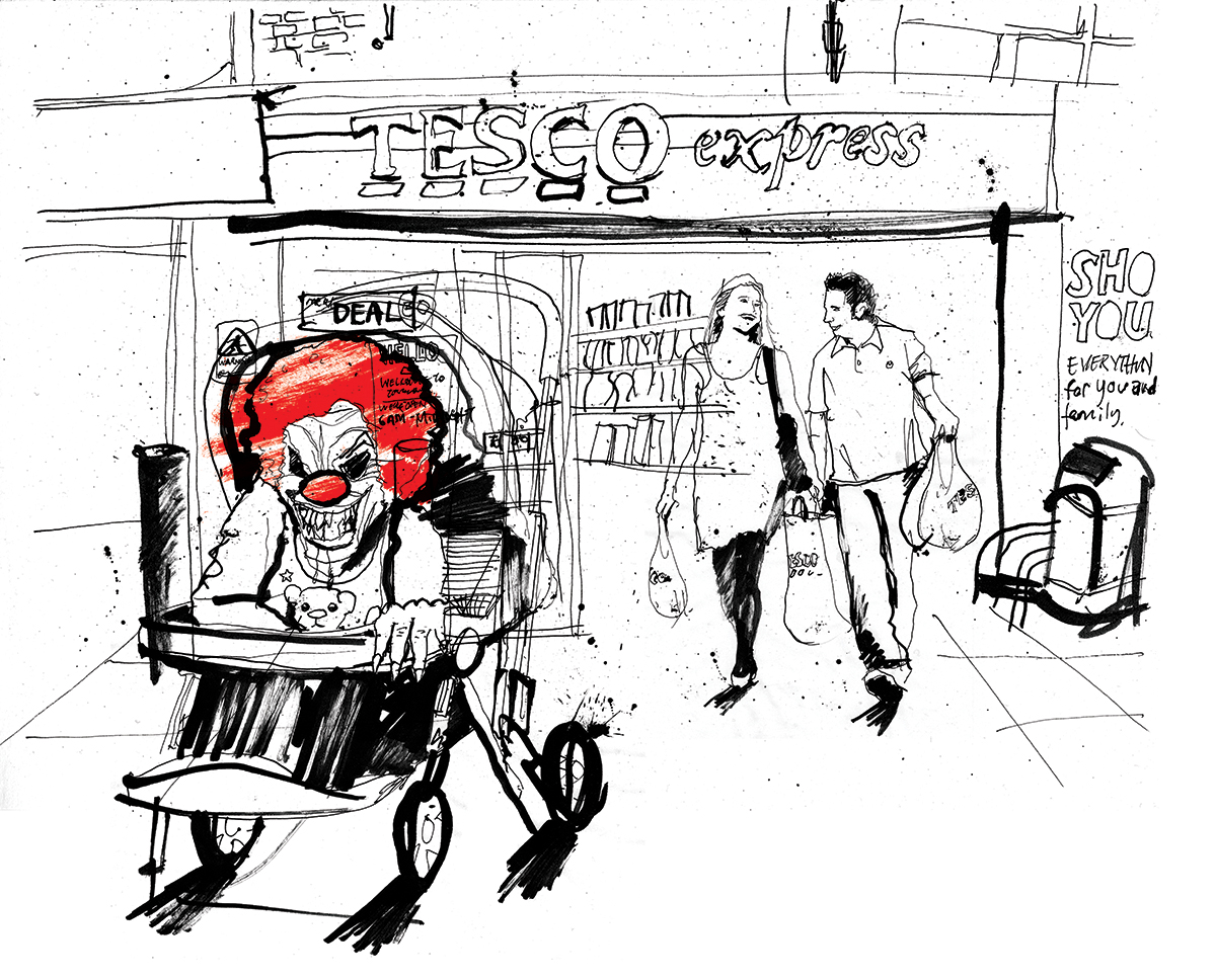 Urban clown illustration hand drawn illustration by Ben Tallon illustrator manchester London, ink drawing
