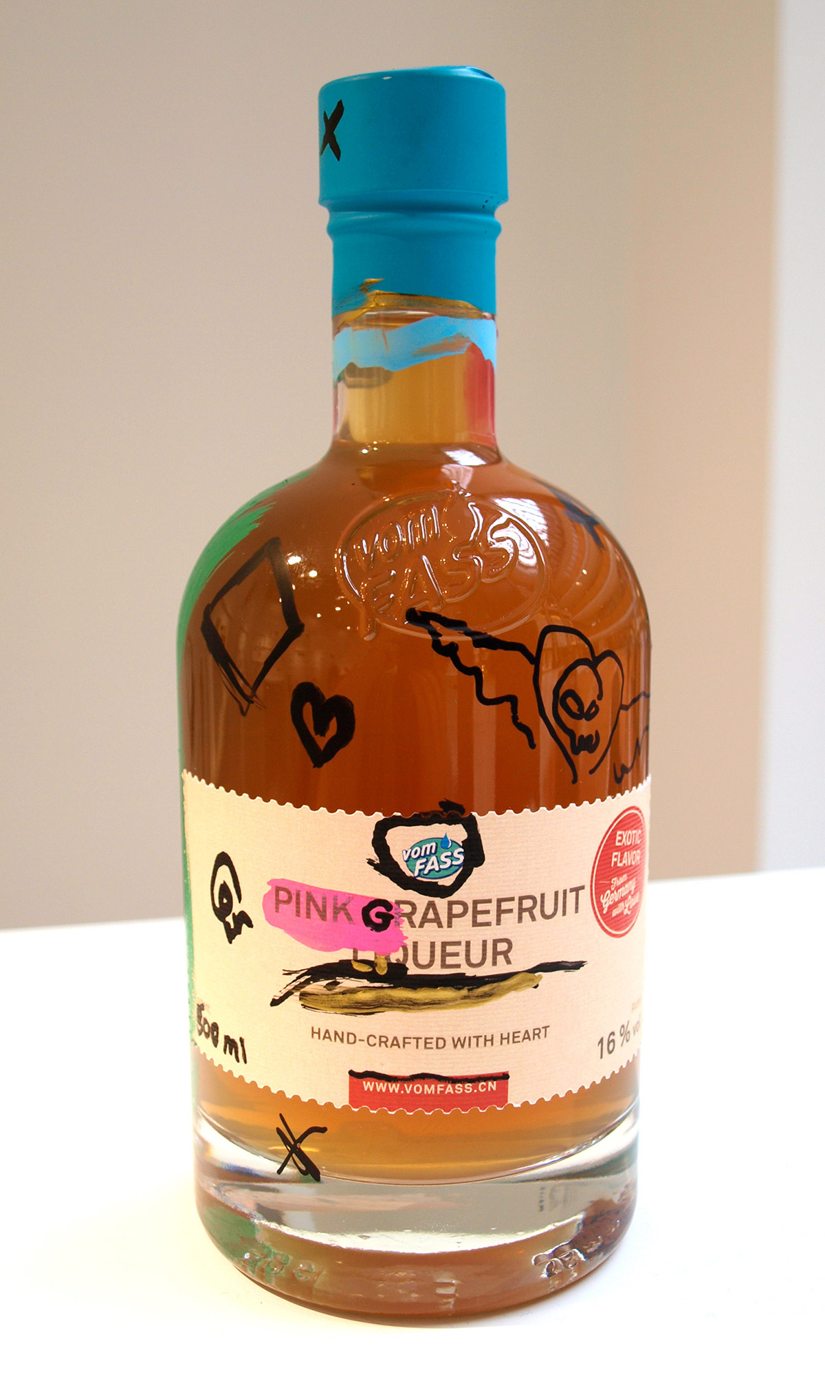 Vom Fass pink grapefruit liqueur bottle, hand painted, hand drawn illustration, alcohol packaging, drawing, label, doodle, loose illustration style, design by Ben Tallon artist UK
