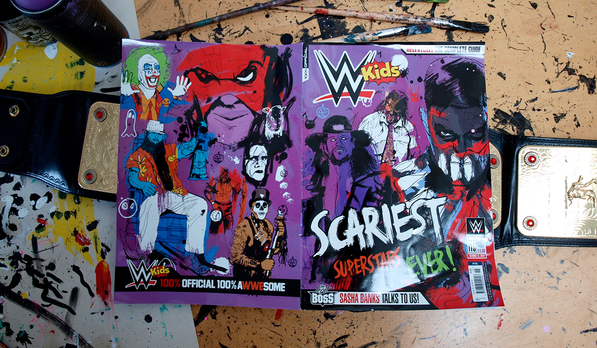 wwe magazine cover artwork and illustration, wwe art, wrestling, wrestling art, illustrator, british illustrator, pen and ink, hand drawn illustration, line art, line drawing, art direction