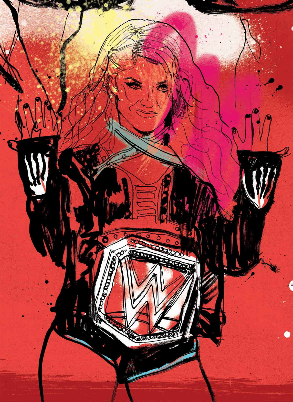 WWE artist artwork illustration for Raw magazine cover design. Hand painted, hand drawn by illustrator Ben Tallon