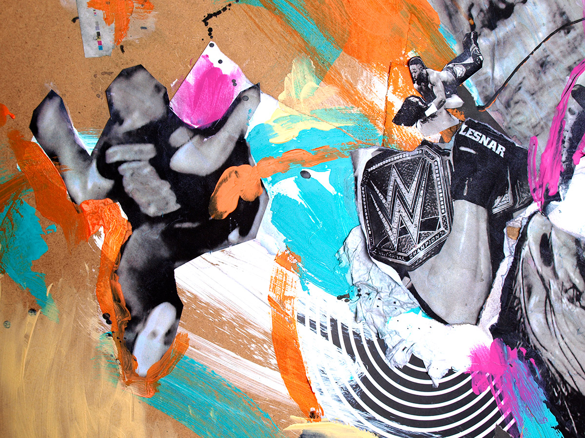 WWE Summerslam art illustration by Ben Tallon, mixed media hand drawn, hand painted collage