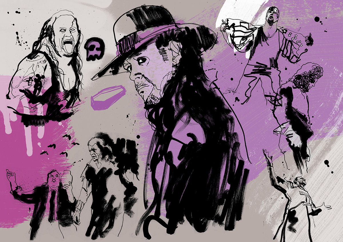 Undertaker WWE illustration and poster artwork, deadman hand painted in ink, paint, pencil and spray paint. Pen and ink illustrator Ben Tallon for WWE